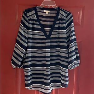 Ann Taylor Loft V-Neck Sheer Blouse Striped Navy L